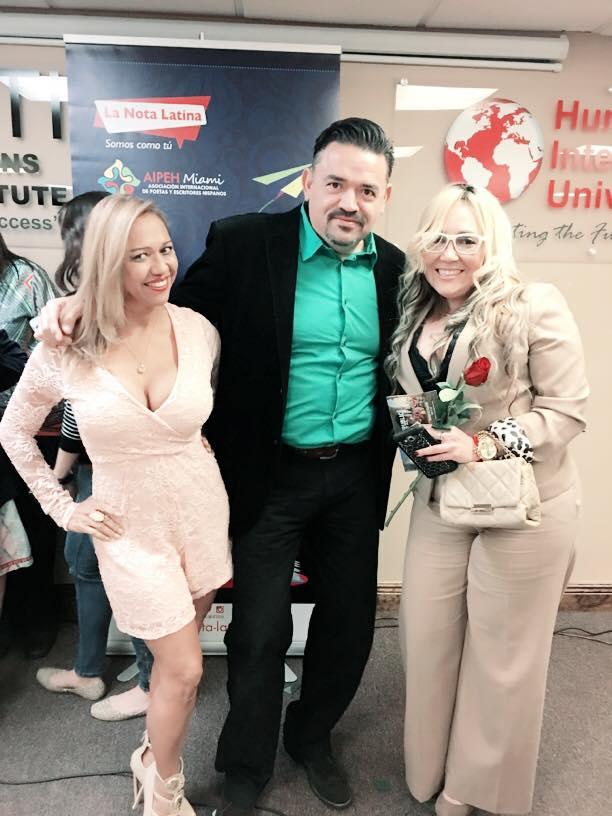 """Leida Álvarez de Alto Nivel Tv, Marisol Casola de La Per Salón Beauty y José Guerrero, conductor de """"café con Manu Terrero"""" de radio Caracol."""