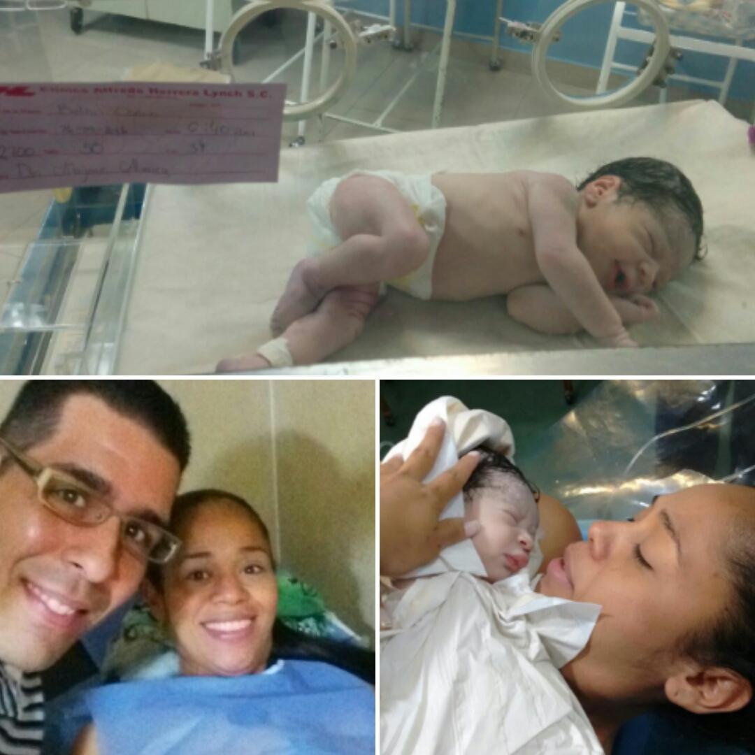 Belkis disfrutando del nacimiento de su hija Flavia.